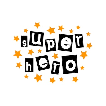 Super hero typographic lettering in cut out styl