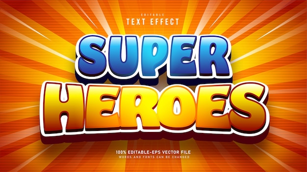Super heroes cartoon text effetto