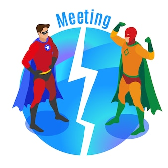 Super heroes in confident poses during meeting of competitors on round blue background isometric vector illustration