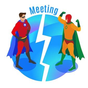 둥근 파란색 배경 아이소메트릭 벡터 일러스트레이션에서 경쟁자들을 만나는 동안 자신감 있는 포즈를 취하는 슈퍼 영웅