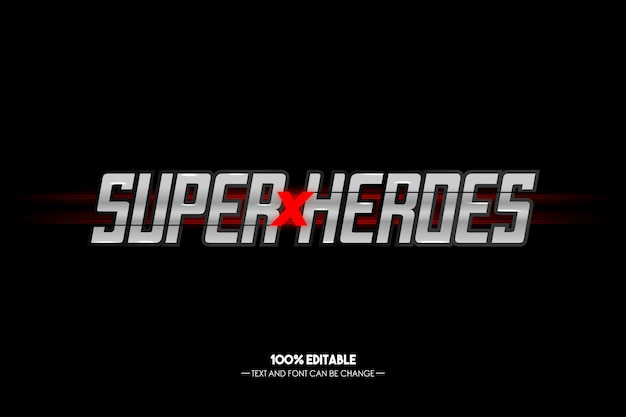 Super heroes metal text style editable