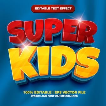 슈퍼 키즈 3d 편집 가능한 텍스트 효과 만화 만화 스타일