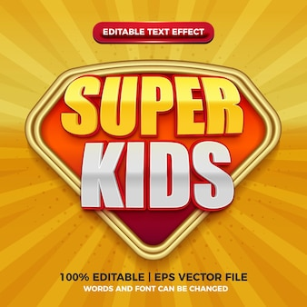 Super kids editable text effect for cartoon comic game title style template on yellow background