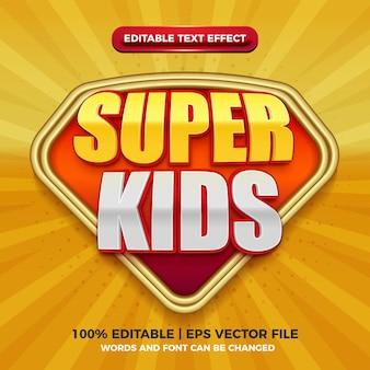 Редактируемый текстовый эффект super kids для шаблона стиля заголовка мультяшного комикса на желтом фоне
