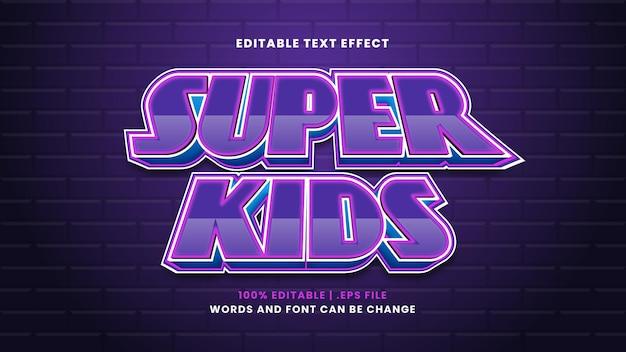 Редактируемый текстовый эффект super kids в современном 3d стиле