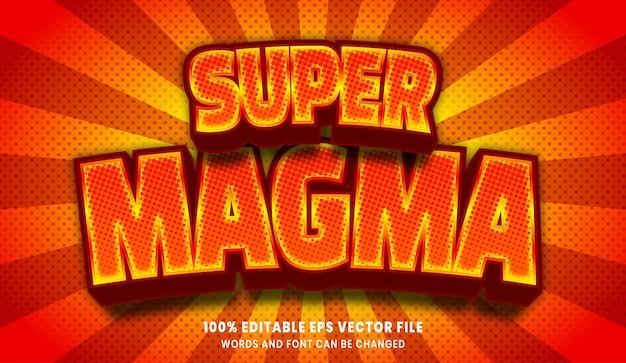 Редактируемый текстовый эффект супер магмы 3d