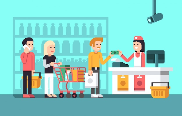 Super market, mall interior with people, saleswoman and store display flat vector illustration