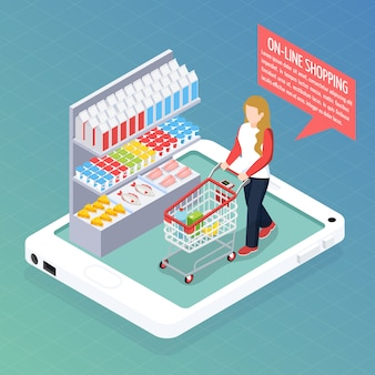 Super market online isometric composition