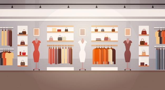 Большой модный магазин super market женская одежда торговый центр интерьер баннер с копией пространства
