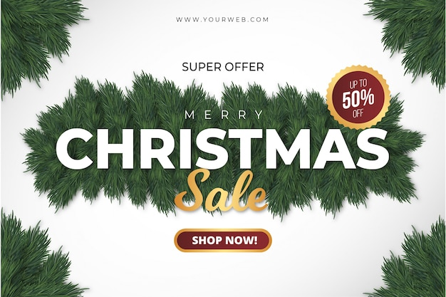 Super merry christmas sale banner