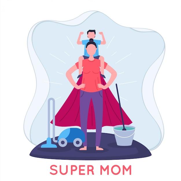슈퍼 엄마와 아이가 평면 그림