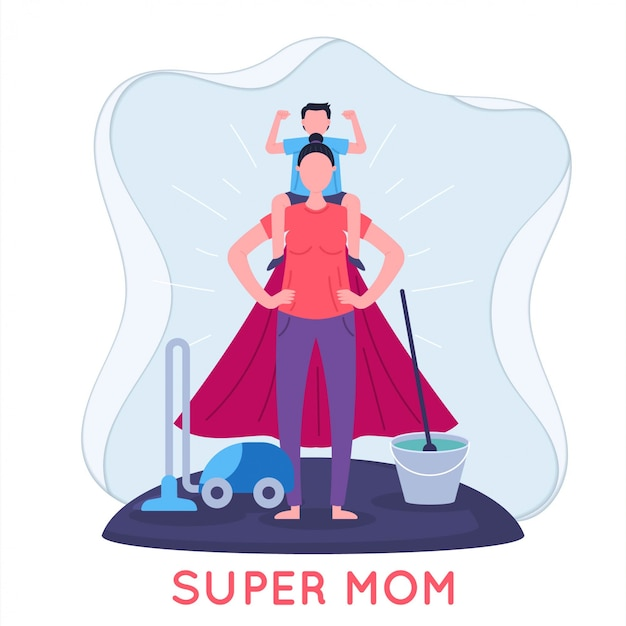 Super mom and child flat illustration