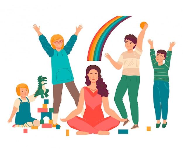 スーパーママイラスト、漫画の美しい若い母親がロータスアサナ、白地に幸せな母性でヨガの練習