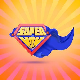 Супер мама. supermom логотип. концепция день матери. открытка для мамы. комический стиль. концепция лидерства. иллюстрация
