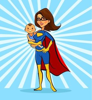 スーパーママの図、ウイルス、白のコロナウイルスから子供を守るスーパーヒーローの衣装の漫画の母キャラクター | プレミアムベクター