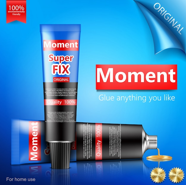 Super or moment glue tube realistic