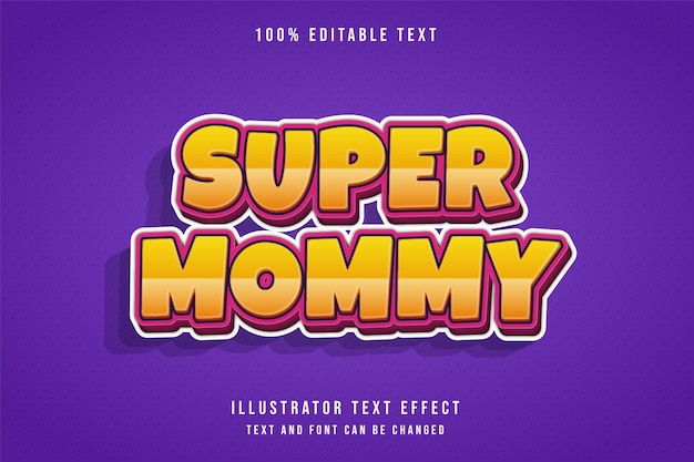 Super mommy,3d editable text effect modern yellow gradation pink text style