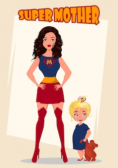 Super mother standing with her little baby girl. superhero woman in costume.