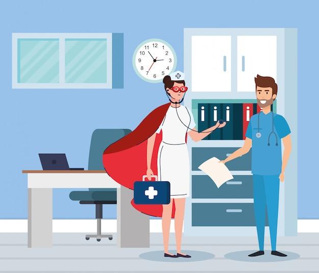Супер медсестра и фельдшер в кабинете