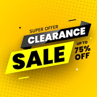Super offer clearance sale banner.  illustration.