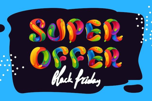 블랙 프라이데이 포스터, 전단지 및 기타 광고를 위한 브러시 스트로크 배경에 슈퍼 오퍼 레터링.