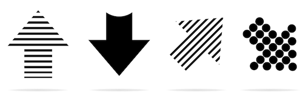 Super offer to set different arrows. flat style. vector illustrations. black arrows.
