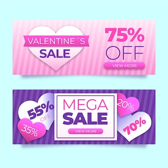 Super offer valentine's day sale banners