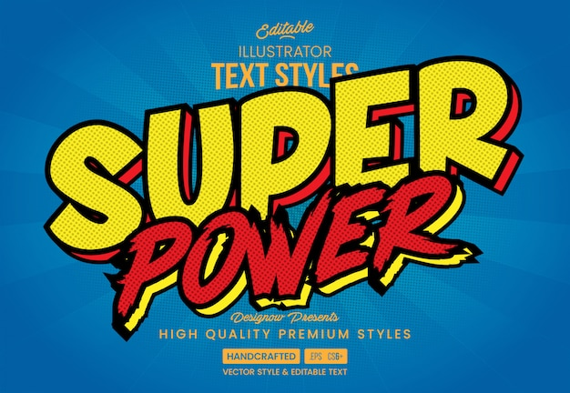Super power comic text style