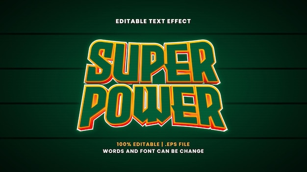 Super power editable text effect in modern 3d style