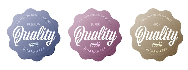 Super quality product sticker label set. warranty stamp, guarantee seal for goods