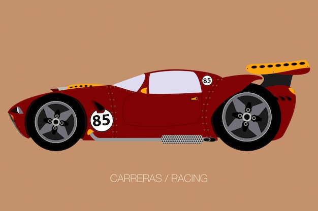 Super race car, side view, flat design style