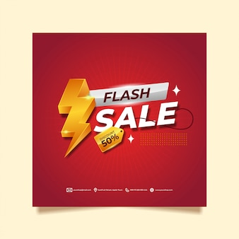 Super red flash sale banner design