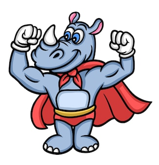 Super rhinoceros animal cartoon character good use for mascot