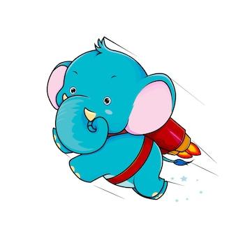 슈퍼 로켓 코끼리 만화 벡터