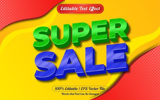슈퍼 판매 3d 편집 가능한 텍스트 효과 추상적 인 배경