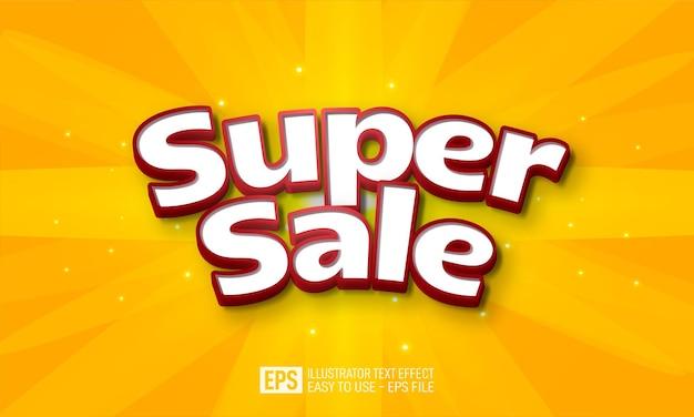 Super sale 3d text editable style effect template