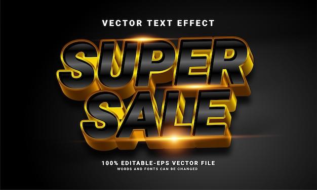 슈퍼 판매 3d 텍스트 효과, 편집 가능한 텍스트 스타일 및 판촉 판매에 적합