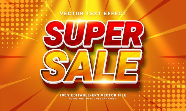 Super sale 3d text effect, editable text style and suitable for promotion sales