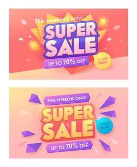 Super sale 3d typography pink banner set. promotion discount