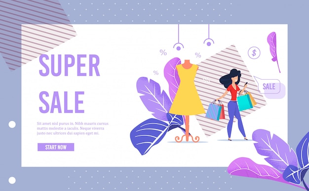 Super sale advertising banner page in frame