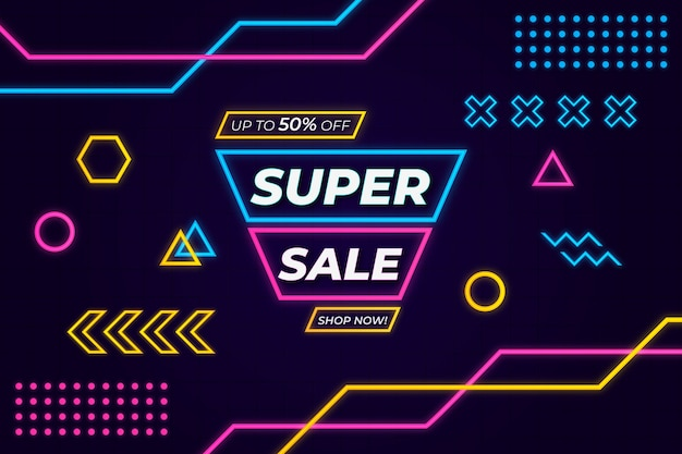 Super sale background glow in the dark memphis style