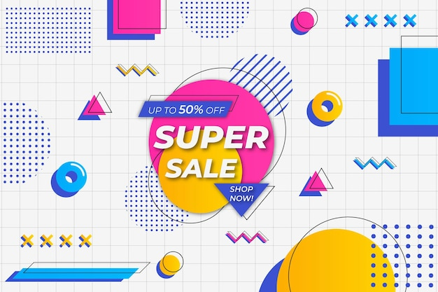 Super sale background white memphis style