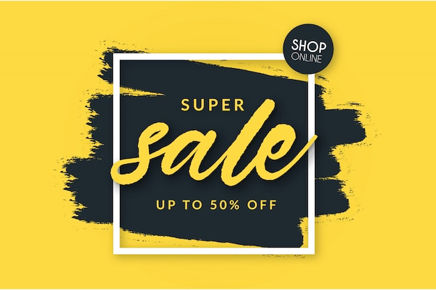 Super sale background with brush shape