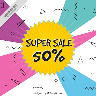 Super sale background with geometric shapes