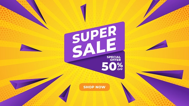 Super sale banner abstract shape and sunbrust background