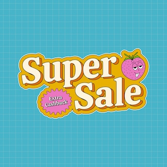 Super sale banner in groovy style