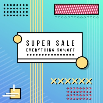 Super sale banner in memphis style