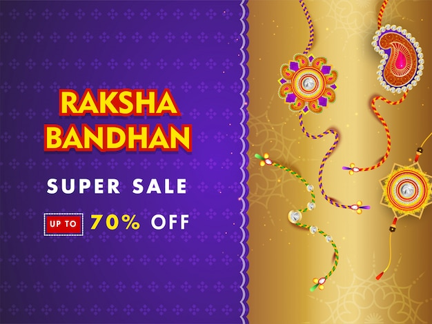 Super sale banner or poster design with 70% discount offer and different rakhi (wristbands) on purple and golden background.