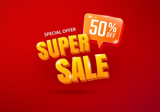 Super sale banner. sale 3d typography. advertising lettering. vector