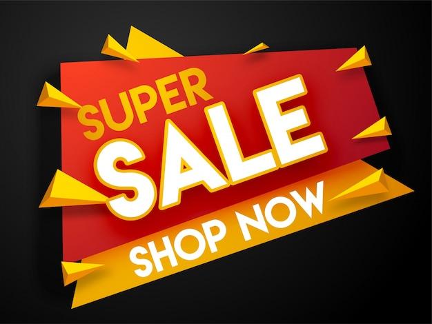 Super sale banner, or sale poster on black background.